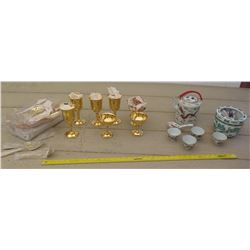 Porcelain Tea Set, Gold Tone Stemware & Flatware