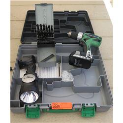 Tools - Hitachi Cordless Drill w/ Flashlight & Drill Bits