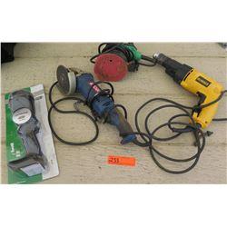 Tools - Dewalt DW505 Hammer Drill, Hitachi Sander, Ryobi Grinder, Flashlight