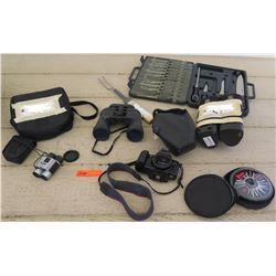 Binoculars, Canon EOS RebelX Camera, Knives, CDs, etc.