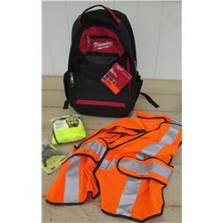 Tools - Milwaukee Backpack w/Tags, Orange & Yellow Safety Vests