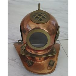 """Metal Diver's Helmet, Approx. 7"""" Tall (1 Panel Missing)"""