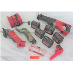Tools - Milwaukee Sawzall & Grinder, 4 qty M18 Batteries, etc.
