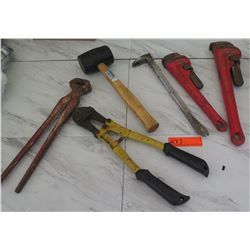 Tools - Ridgid Monkey Wrench, Bolt Cutters, Mallet