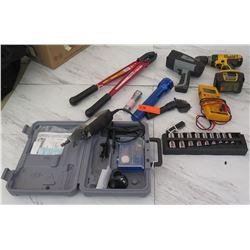 Tools - Dremel 3000, Dewalt Cordless Drill, Bolt Cutters, Meter