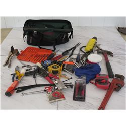 Tools - Tool Bag w/ Hammer, Vice Grips, Monkey Wrench, etc.