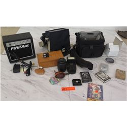 Nikon AF-S Nikkor 18-55mm 1:3.5-5.6G ED Lens, First Act Amp, Camera Bags, Cards, etc.