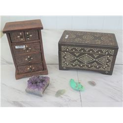 2 Wooden Jewelry Boxes, Amethyst Cluster, Misc. Stones