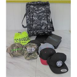 Backpack w/ Misc. Hats, T-Shirt, Bible in Case