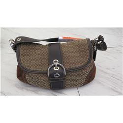 Brown Coach Monogram Shoulder Bag