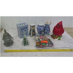 Blue & White Ceramic Vases, etc.