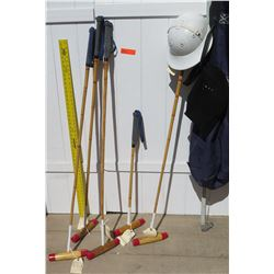 Polo Gear - Mallets, Helmet w/Bag, etc. (one of mallets has damage)