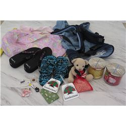 Backpack, Infant Carrier, 2 Pairs Slippers, 2 Unused Candles, etc.