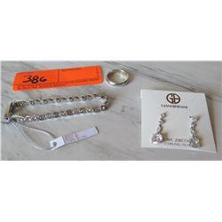 Jewelry - Swarovsky Tennis Bracelet w/Tag, Giani Bernini Earings w/Tag, Men's Silver Ring