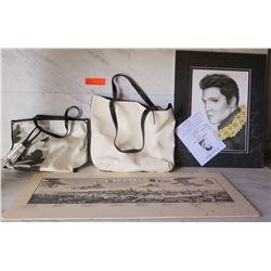Black & White Berlin Print, Elvis Print, 2 Hand Bags