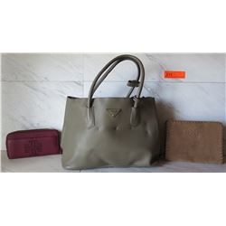 Prada Leather Handbag (has indentation marks and flaws), Tory Burch Wallet and Zippered Purse