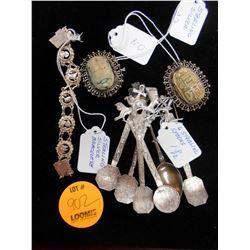 Asstd. Sterling Silver: Bracelet, Spoons, Scarab Pendant