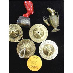 Brass Finger Cymbals, Jug & Precious Stone Pharaoh Bust