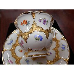 Antique Unusual Ornate Gold Overlay Cup & Saucer