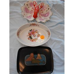 3 PC Lot: Lobster Dish, Shafford Oven to Table Dish, Couroc Servingware