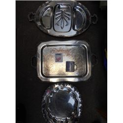 3 Heavy Antique Fosters Silver Serving Trays