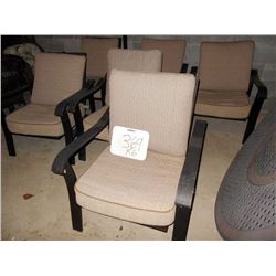 Set of 6 Aluminum Upholstered Lawn Chairs