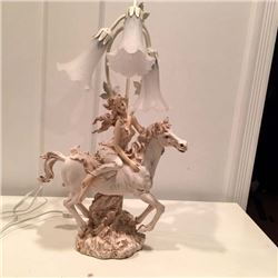 Table Lamp with Resin Girl on Horse