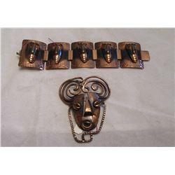 Vintage Designer Rebajes Copper Jewlery Set Bracelet and Brooch