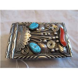 Vintage Navajo Sterling Silver Turquoise and Coral Belt Buckle