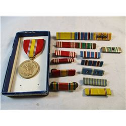 Vintage circa 1960's Military Ribbons, Bars and Medal