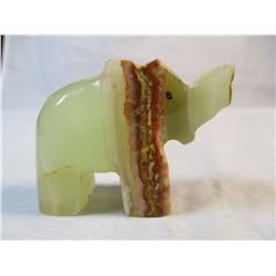 Green onyx carved elephant