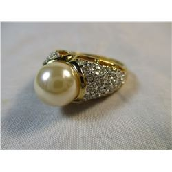 Champagne Pearl and Crystal Ring