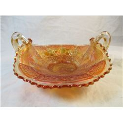 Vintage Orange Carnival Glass Basket Dish
