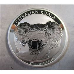 2014 1/2 oz 999 Silver Australain Koala 50 Cent Coin Mirror Finish