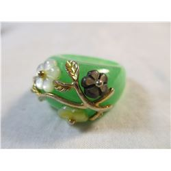 Jade and Sterling Silver Detail Ring
