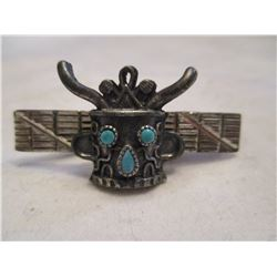 Native American Silver and Turquoise Tie Bar