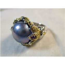 Blue Mabe Pearl Ring