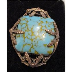 Rare vintage silver and turquoise brooch