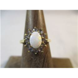 10kt gold Opal and Tanzanite Ring