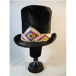 Somers Bros 1880's Top Hat with Sioux 1920's Beaded Hat Band