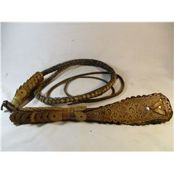 Vintage Handtooled Mexian Whip