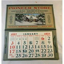 1937 Calendar from the Pioneer Store Spearfish South Dakota