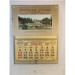 1929 Calendar with Pockets from The Pioneer Store Spearfish South Dakota