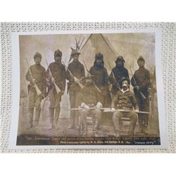 Lieutenant Tayor and 7 Indian Scout Print 1891 Stevens Pine Ridge Agency Hot Springs South Dakota