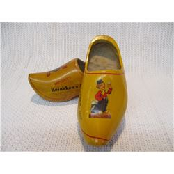Vintage Pair Hineken Holland Beer Advertising Wooden Clogs
