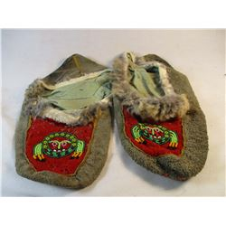 Circa 1920's-1950's Alaskan Cree Beaded Moccasins