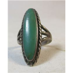 Vintage Sterling and Turquoise Navajo Ring Size 6 1/2