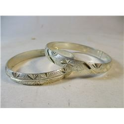 Set of 2 Hinged Bracelets Sterling Silver