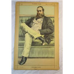 Vanity Fair: Statesmen Original Lithograph November 18 1871 2 Pages Dawson-Damer