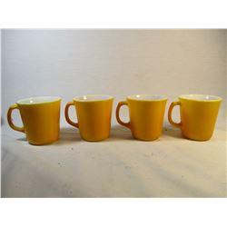 Set of 4 Vintage 1960's Mustard Yellow Mugs